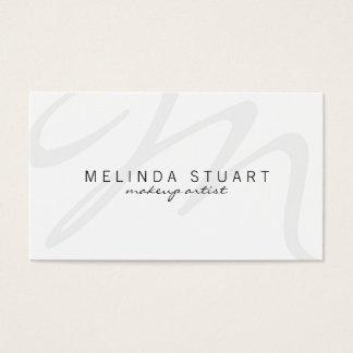 Monogramme blanc moderne professionnel cartes de visite