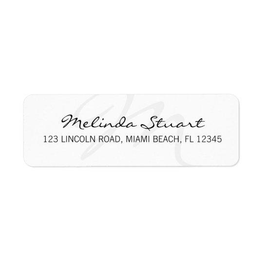 Monogramme blanc moderne professionnel étiquette d'adresse retour