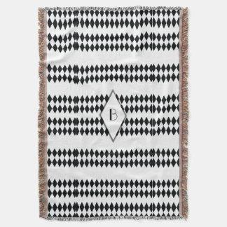Monogramme blanc noir de motif de harlequin couvre pied de lit