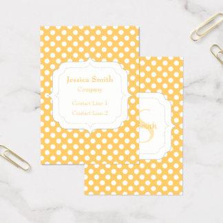 Monogramme blanc orange à la mode Girly mignon de Cartes De Visite