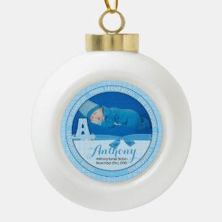 Monogramme bleu A de bébé de guingan de nouveaux Boule En Céramique