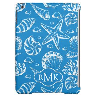 Monogramme bleu du motif | de plage