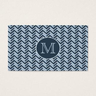 Monogramme bleu frais de motif de Chevron Cartes De Visite