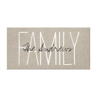 Monogramme chic rustique de famille toiles