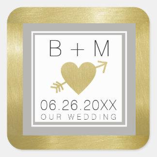 monogramme classique élégant d'amour, mariages sticker carré