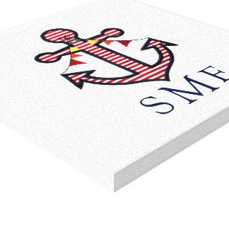 Monogramme d'ancre avec les rayures et la bannière toiles