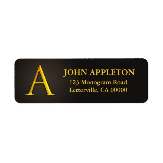 Monogramme de couleur d'or étiquettes de adresse