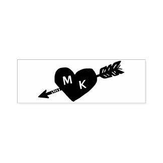Monogramme de coutume de coeur et de flèche tampon auto-encreur