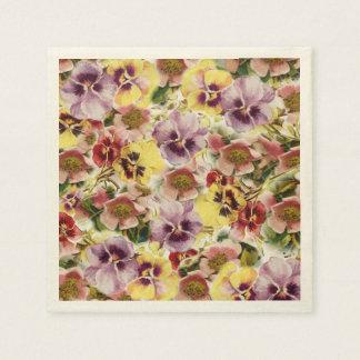 Monogramme de fleur sauvage de pensées d'été serviettes en papier
