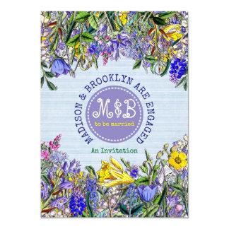 Monogramme de fleurs sauvages de partie de carton d'invitation  12,7 cm x 17,78 cm
