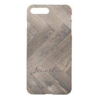 Monogramme de motif de zigzag en bois de chêne coque iPhone 8 plus/7 plus