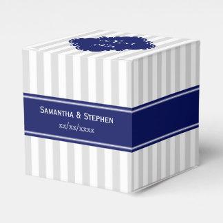 Monogramme de nom de bleu marine de rayure de lt boite de faveur