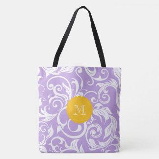 Monogramme de remous de papier peint floral de tote bag