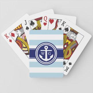 Monogramme de très bon goût d'ancre de rayure de cartes à jouer