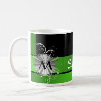 Monogramme de vert vif et de noir mug