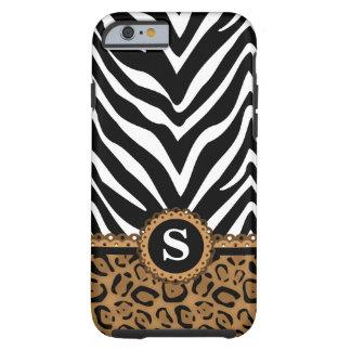 Monogramme de zèbre et de léopard coque tough iPhone 6
