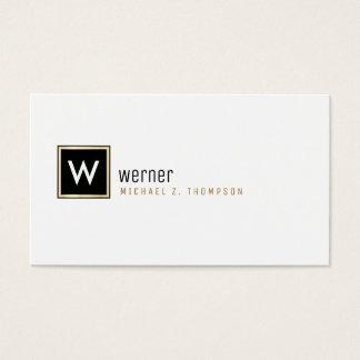 monogramme d'entreprise chic sur le blanc cartes de visite