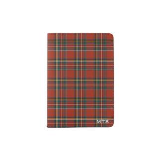 Monogramme écossais rouge classique royal de protège-passeport