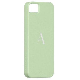 Monogramme élégant de blanc de vert de thé étui iPhone 5