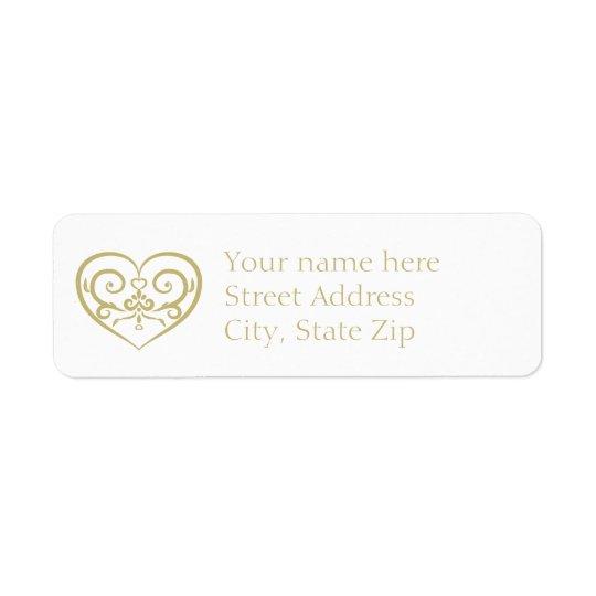 Monogramme élégant de blanc et d'or étiquette d'adresse retour
