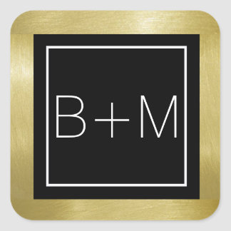 monogramme élégant de carré de classique, mariages sticker carré