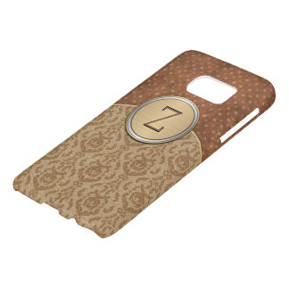 Monogramme élégant d'orange de Brown Coque Samsung Galaxy S7
