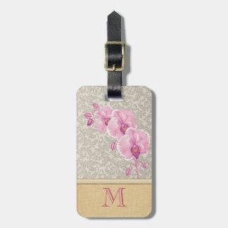 Monogramme élégant girly mignon d'orchidée de étiquette pour bagages