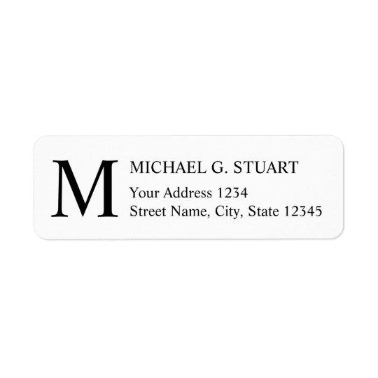 Monogramme élégant noir et blanc étiquette d'adresse retour