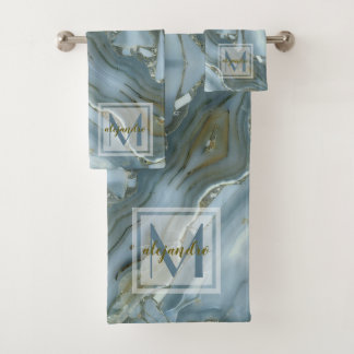 Monogramme en pierre naturel de marbre bleu