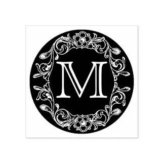 Monogramme encadré floral de cercle