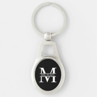 Monogramme et nom personnalisés porte-clé ovale argenté