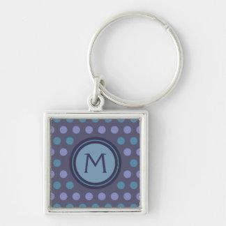 Monogramme fait sur commande bleu et pourpre porte-clé carré argenté