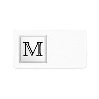 Monogramme fait sur commande imprimé. Noir et blan Étiquette D'adresse