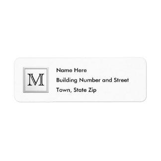 Monogramme fait sur commande imprimé. Noir et blan Étiquette D'adresse Retour