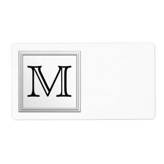 Monogramme fait sur commande imprimé. Noir et blan Étiquette D'expédition