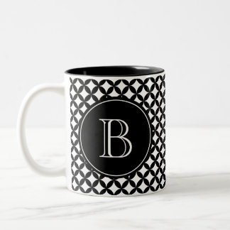 Monogramme fait sur commande noir et blanc mug bicolore