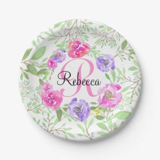 Monogramme floral d'aquarelle de pivoine rose assiettes en papier