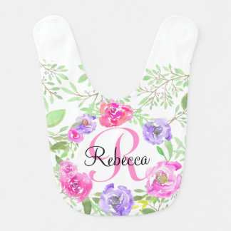 Monogramme floral d'aquarelle de pivoine rose bavoirs pour bébé