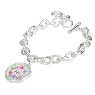 Monogramme floral d'aquarelle de pivoine rose bracelets