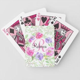 Monogramme floral d'aquarelle de pivoine rose cartes à jouer