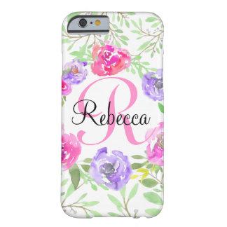 Monogramme floral d'aquarelle de pivoine rose coque iPhone 6 barely there