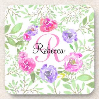 Monogramme floral d'aquarelle de pivoine rose dessous-de-verre