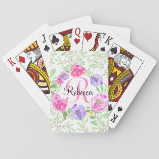 Monogramme floral d'aquarelle de pivoine rose jeu de cartes