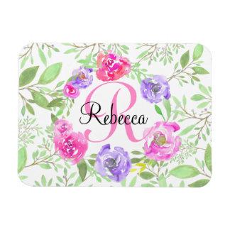 Monogramme floral d'aquarelle de pivoine rose magnet rectangulaire avec photo