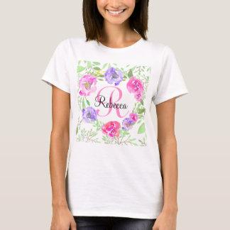 Monogramme floral d'aquarelle de pivoine rose t-shirt