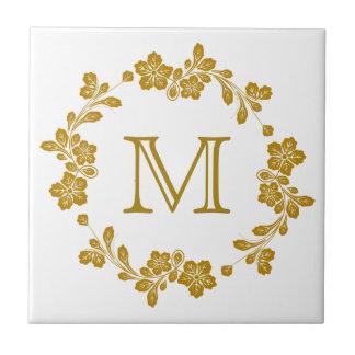 Monogramme floral de frontière de rétro or carreau