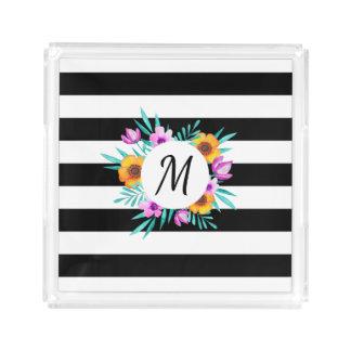 Monogramme floral de guirlande de rayures noires plateau en acrylique