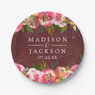 Monogramme floral de mariage d'aquarelle de assiettes en papier