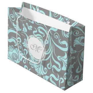 Monogramme floral vintage L cadeau B de motif de Grand Sac Cadeau