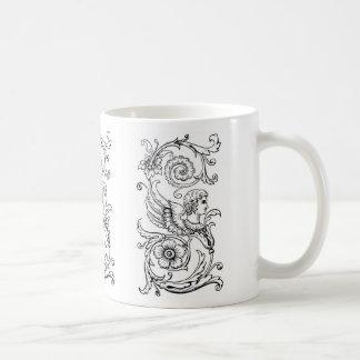 Monogramme floral vintage noir S décoratif Mug